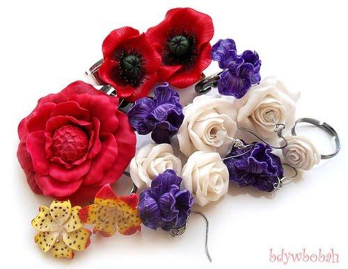 bijuterii flori din fimo