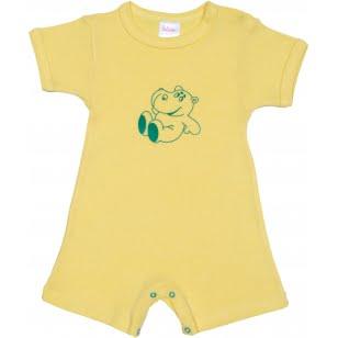 Salopeta-maneca-scurta-pantaloni-scurti-galbena-imprimeu-hipopotam