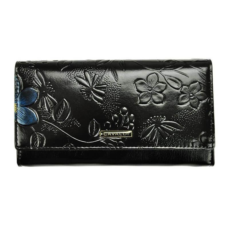 Portofelul negru cu modele florale